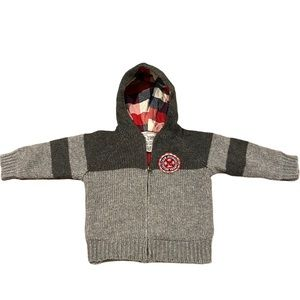 Children's place flannel lined zip up sweater